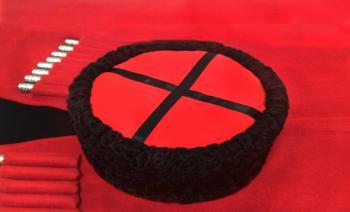 Казачья Кубанка из черного каракуля Панайот из натурального меха