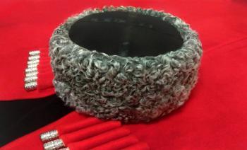 Казачья Кубанка из серого каракуля Понащук из натурального меха