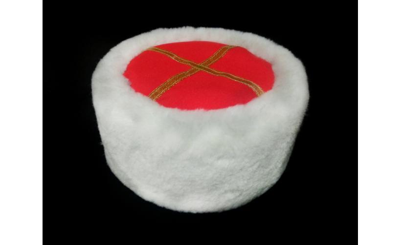 Казачья Кубанка из белого мутона Сабун из натурального меха