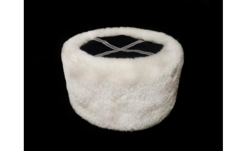 Казачья Кубанка из белого мутона Шеледа из натурального меха