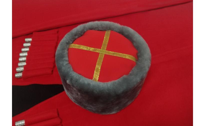 Казачья Кубанка из серого мутона Девятка из натурального меха