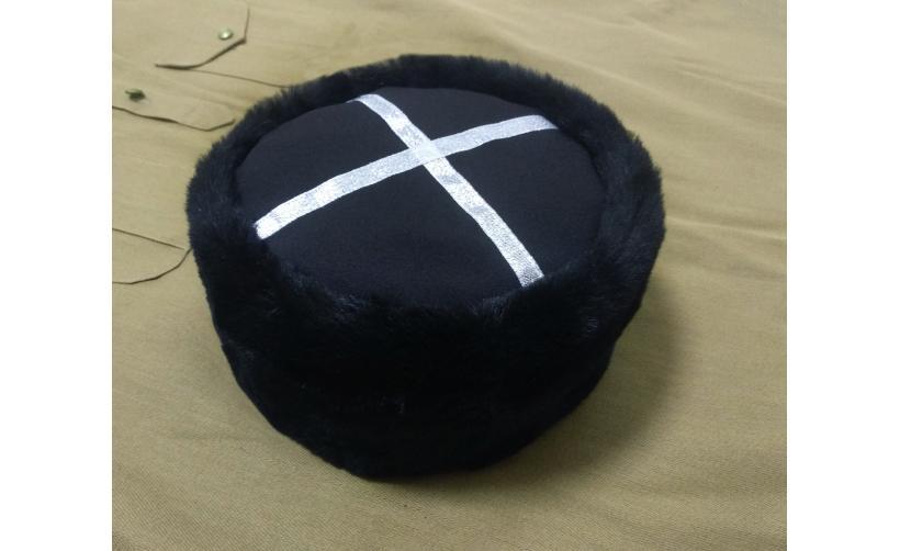 Казачья Кубанка из черного мутона Слива из натурального меха